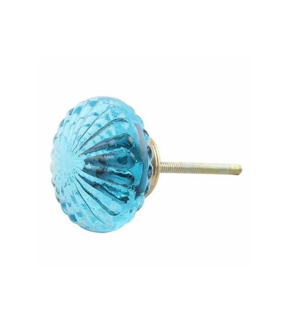 Gros bouton de meuble en verre bleu transparent