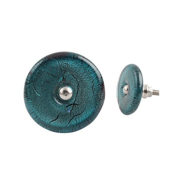 Bouton de meuble en verre bleu mercurisé