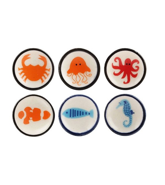 Bouton de meuble en porcelaine Les Mondes Marins - Boutons Mandarine
