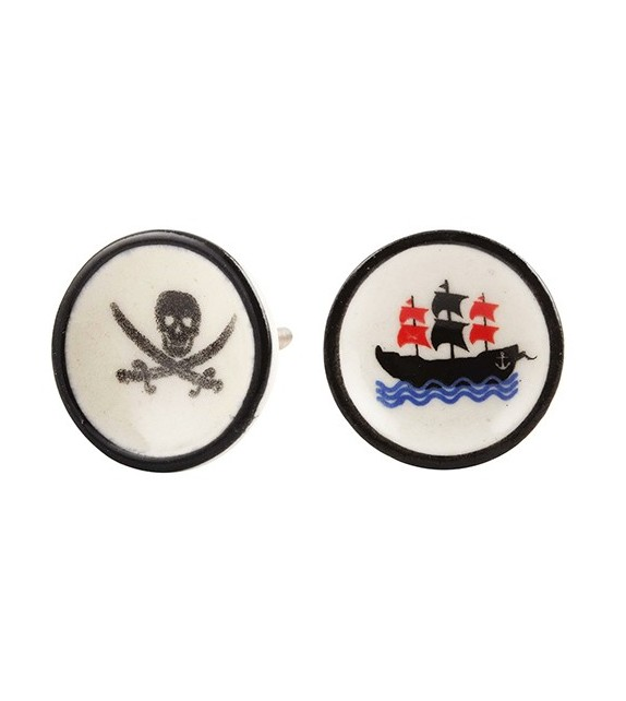 Bouton de meuble en porcelaine Pirate