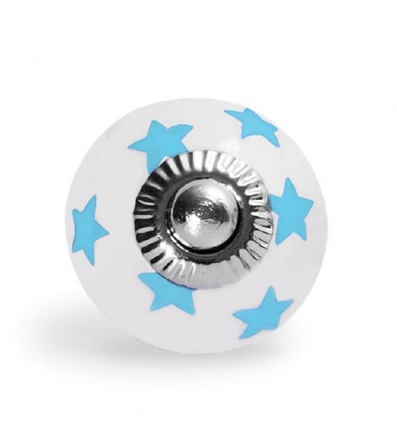 Bouton de meuble motifs petites étoiles en porcelaine