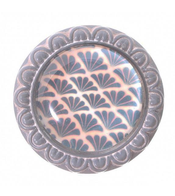 Bouton de meuble cabochon en verre Lotus bleu - Boutons Mandarine