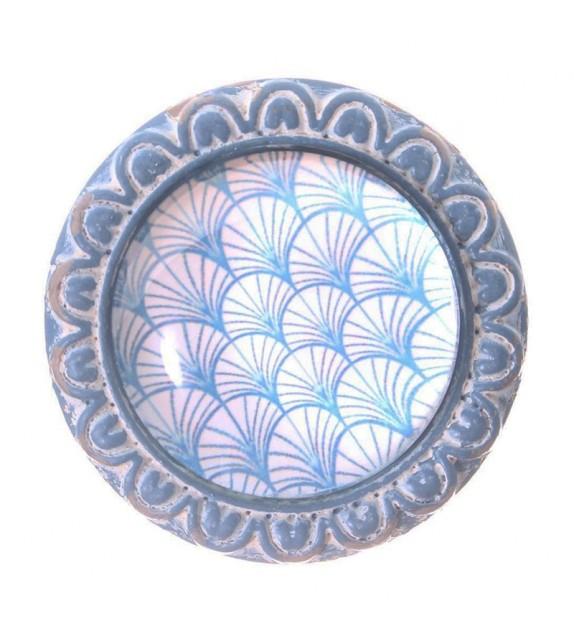 Bouton de meuble cabochon de verre Palmiers bleus - Boutons Mandarine