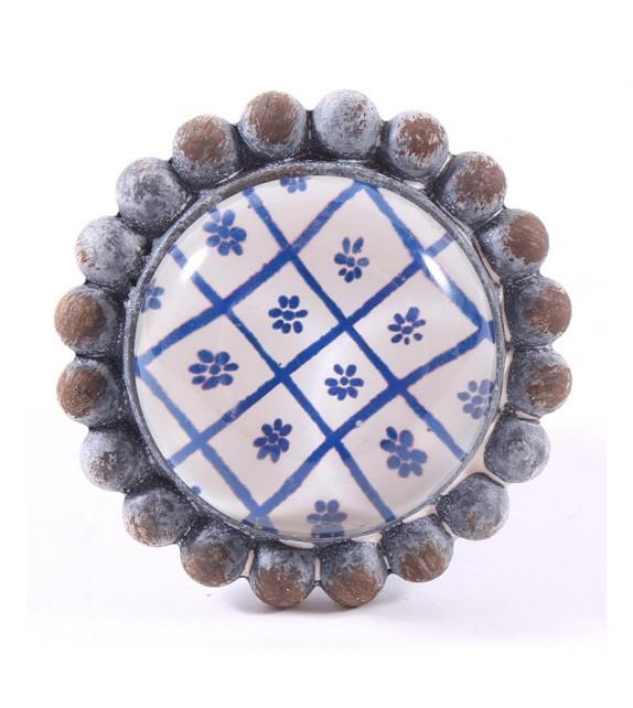 Bouton de meuble cabochon de verre Fleurs bleues - Boutons Mandarine