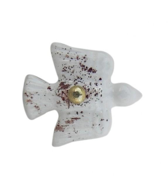 Gros bouton de meuble en porcelaine forme oiseau