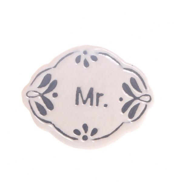 Bouton de meuble en porcelaine Mr et Mrs rétro