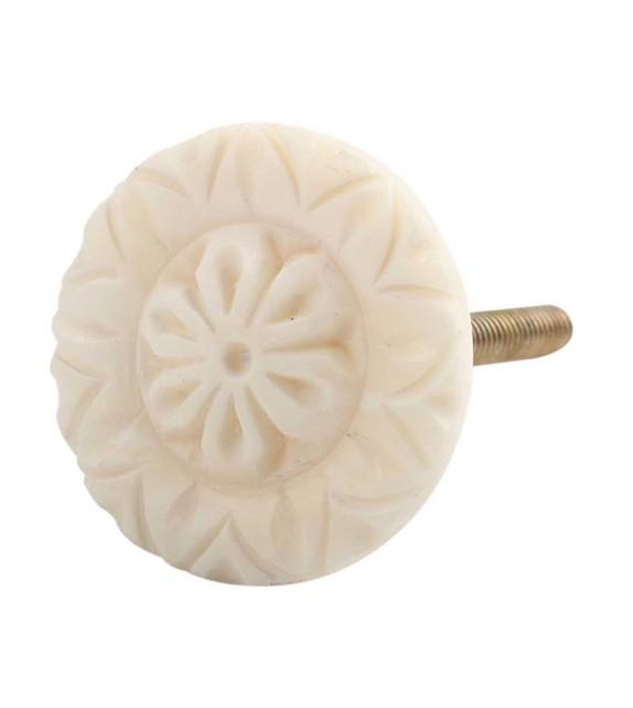 Petit bouton de meuble Fleur en os n°1 - Boutons Mandarine