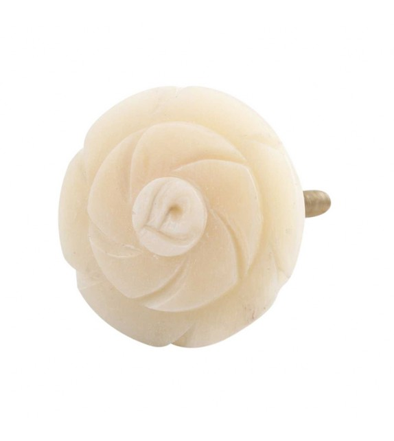 Petit bouton de meuble en os en forme de Fleur n°2