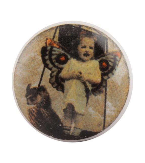 Bouton de meuble en porcelaine L'enfant Papillon