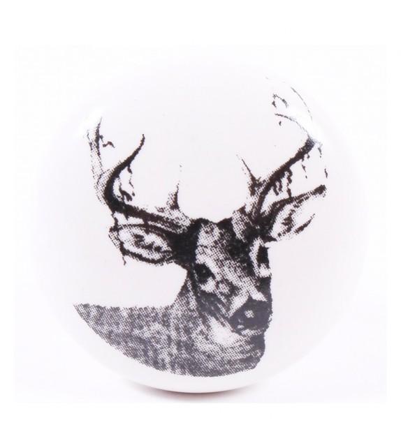Bouton de meuble en porcelaine Cerf vintage