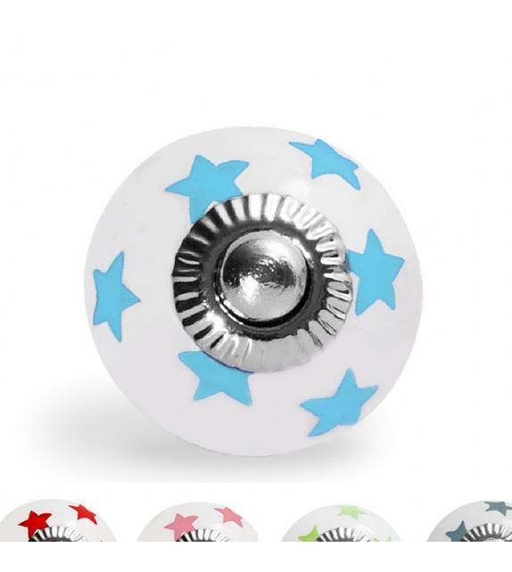 Petit bouton de meuble motifs petites étoiles en porcelaine