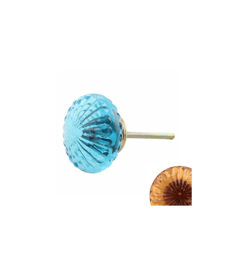 Gros Bouton De Meuble En Verre Bleu Transparent Boutons Mandarine Com