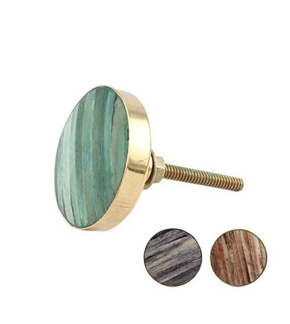 Bouton de meuble rond effet bois vielli et métal doré