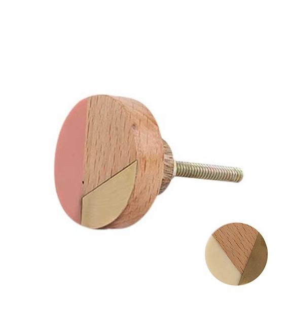 Bouton de meuble Vintage géométrie or et bois - Boutons Mandarine