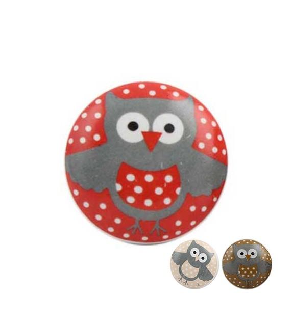bouton de meuble hibou pois enfant en porcelaine boutons. Black Bedroom Furniture Sets. Home Design Ideas