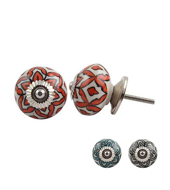 Bouton de meuble fleur vina en porcelaine boutons - Bouton en porcelaine pour meuble ...