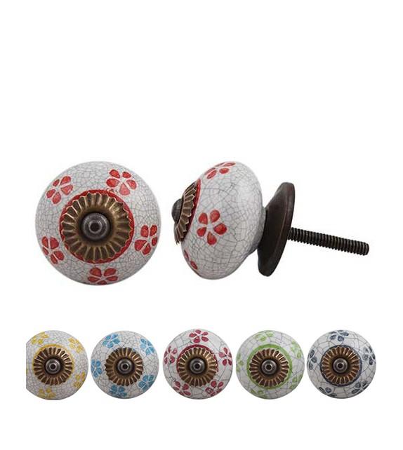 Bouton de meuble Petites Fleurs en porcelaine craquelée - Boutons Mandarine