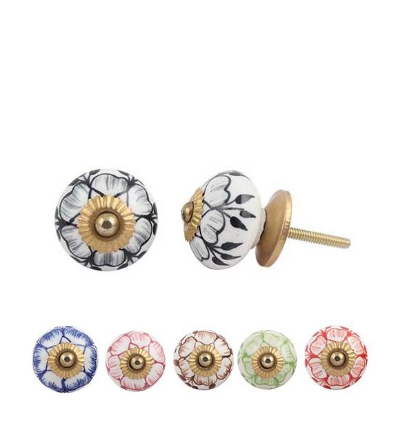 Bouton de meuble Fleur Nina en porcelaine - Boutons Mandarine