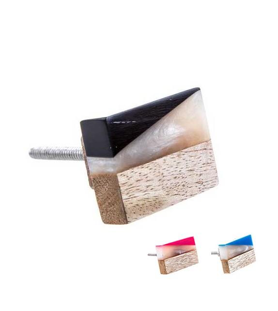 Bouton de meuble à facettes bois et résine