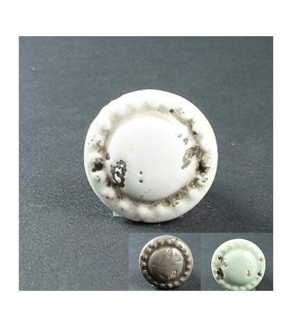 Bouton de meuble Lubéron rond en porcelaine - Boutons Mandarine
