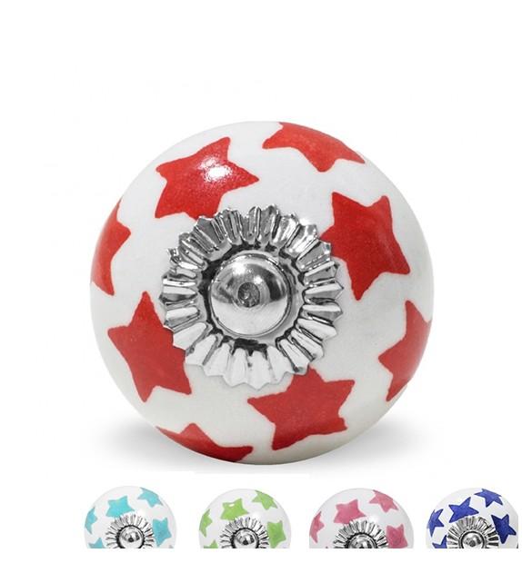 Bouton de meuble motif Etoile colorée en porcelaine blanche - Boutons Mandarine