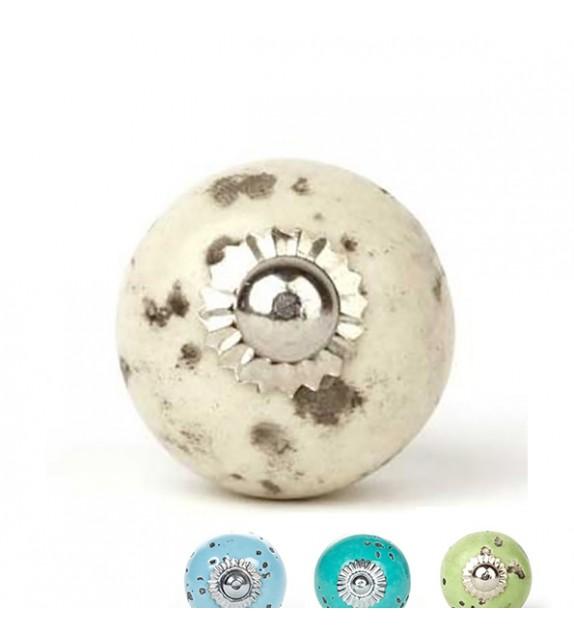 Bouton de meuble Shabby en porcelaine 3 cm