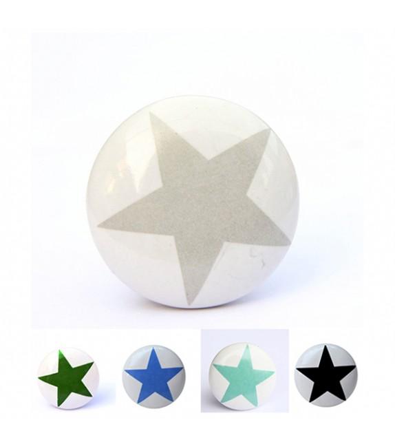 Bouton de meuble impression étoile en porcelaine