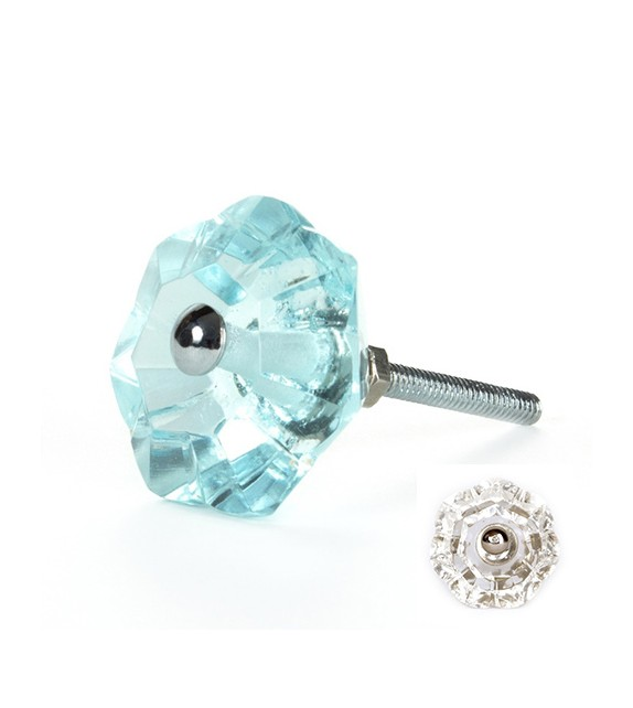 Bouton de meuble Diamant Fleur transparent en verre