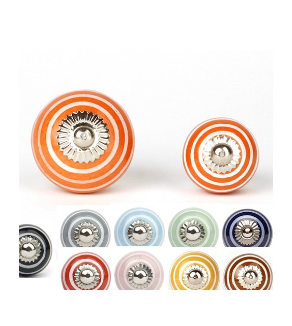 Bouton de meuble rayé blanc en porcelaine colorée - 12 couleurs disponibles - Boutons Mandarine