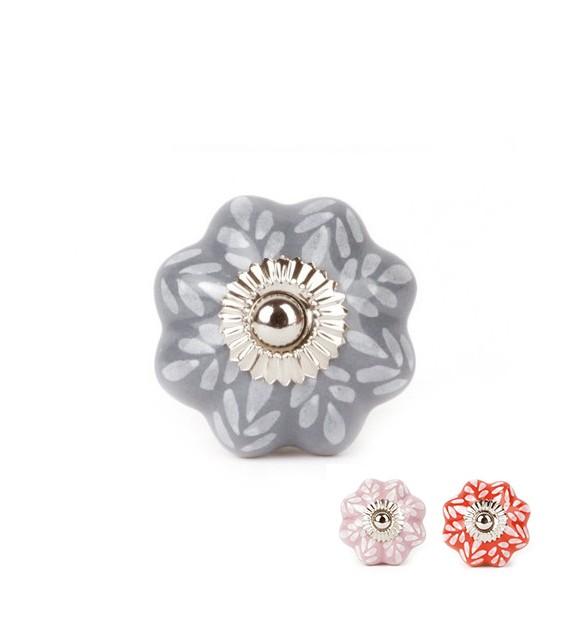 Bouton de meuble Feuilles forme citrouille en porcelaine - 3 couleurs - Boutons Mandarine