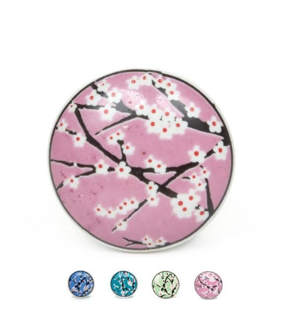 Bouton de meuble Cerisier en fleur en porcelaine - 4 couleurs disponibles
