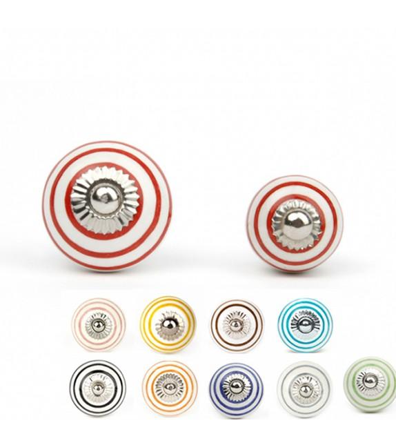 Bouton de meuble blanc rayé en porcelaine - 10 couleurs disponibles - Boutons Mandarine