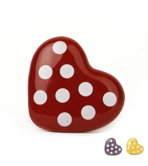 Bouton de meuble coeur rouge à pois blancs