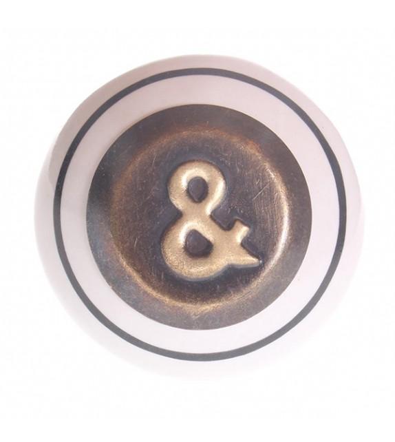 Bouton de meuble cuivré logogramme &
