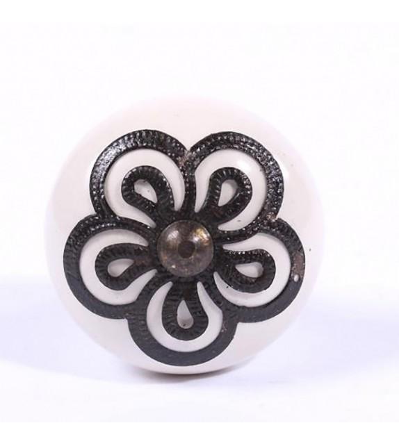 Bouton de meuble ornement fleur en métal