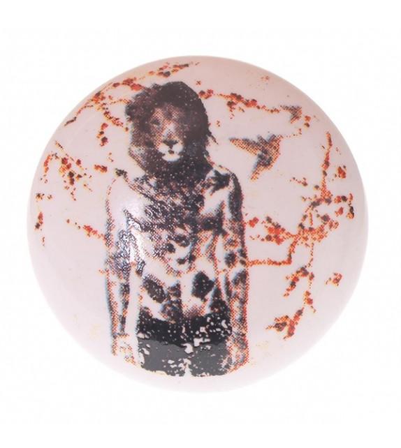 Bouton de meuble en porcelaine Homme Lion - Boutons Mandarine