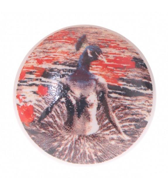 Bouton de meuble en porcelaine Femme Oiseau