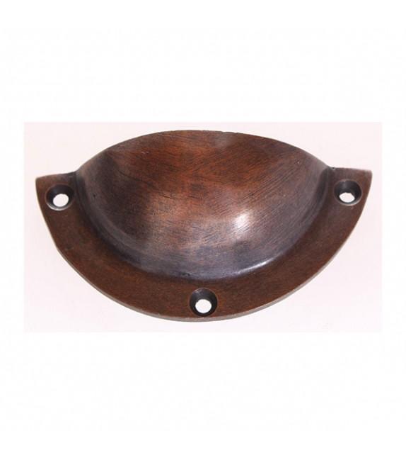 Poignée de meuble coquille métal brossé cuivre ou bronze - Boutons Mandarine