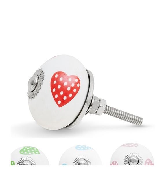 Bouton de meuble motif Coeur à pois en porcelaine - Boutons Mandarine
