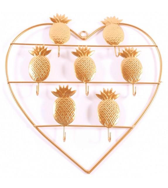 Patère murale Ananas doré avec 7 crochets - Boutons Mandarine