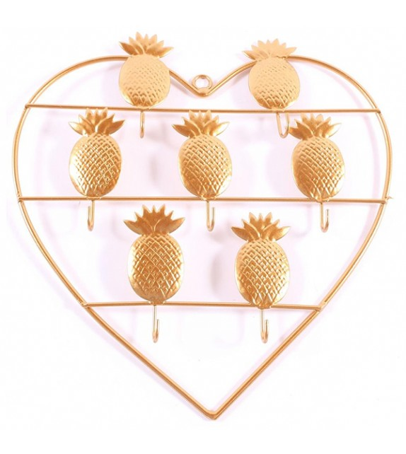 Patère murale Ananas doré avec 7 crochets