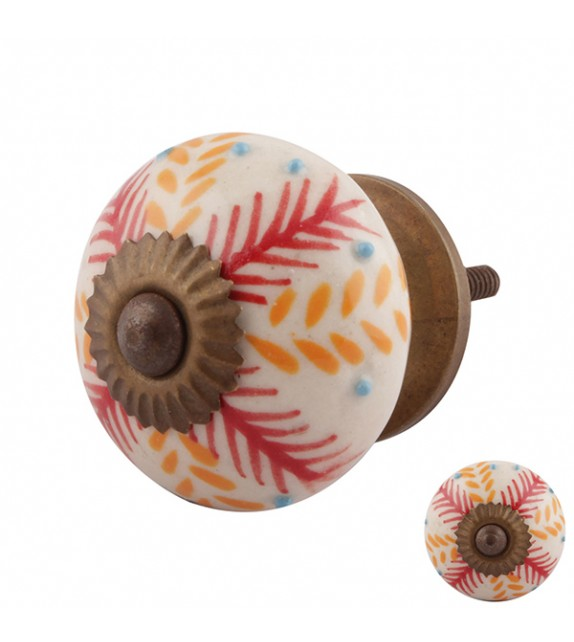 Bouton de meuble en porcelaine Jungle rouge orangé - Boutons Mandarine