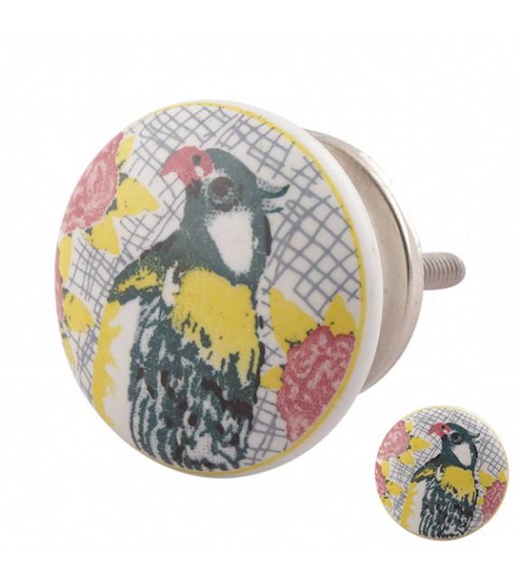 Bouton de meuble Perroquet multicouleur en porcelaine