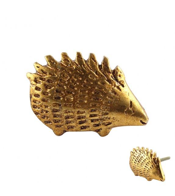 Bouton de meuble Hérisson doré en métal