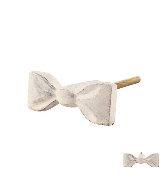 Bouton de meuble vintage Noeud de robe en fer patiné blanc - Boutons Mandarine