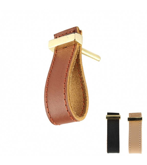 Bouton de meuble Chic en cuir boucle dorée