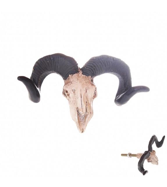 Bouton de meuble déco Tête crâne de chèvre - Boutons Mandarine