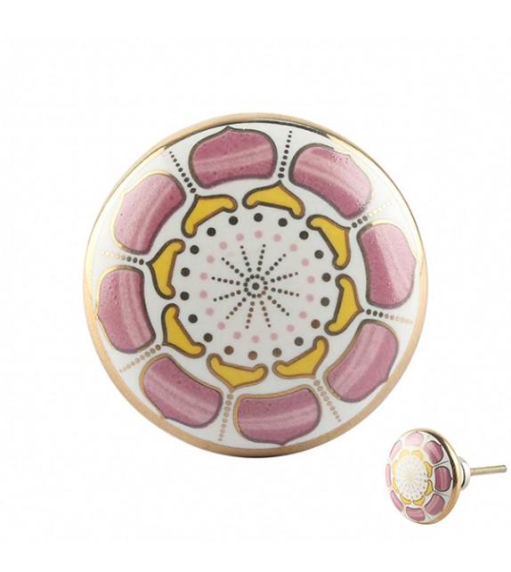 Bouton de meuble Roue de fleurs en porcelaine
