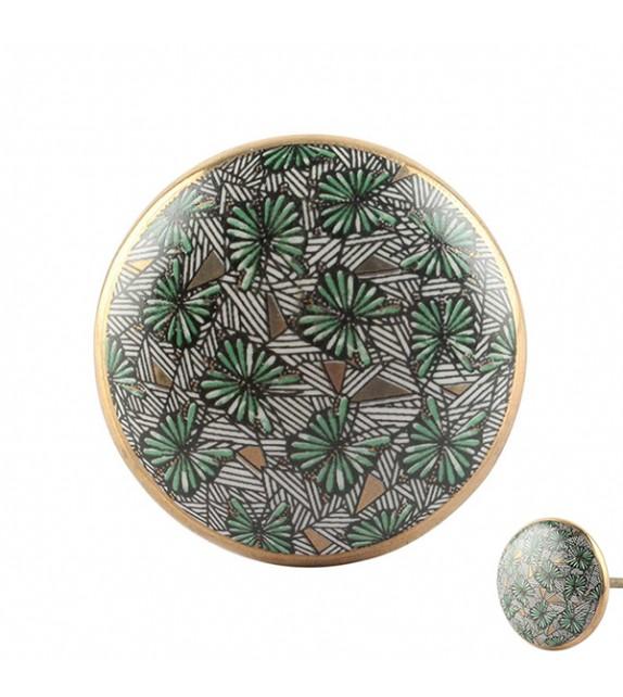 Bouton de meuble exotique Papillon en porcelaine