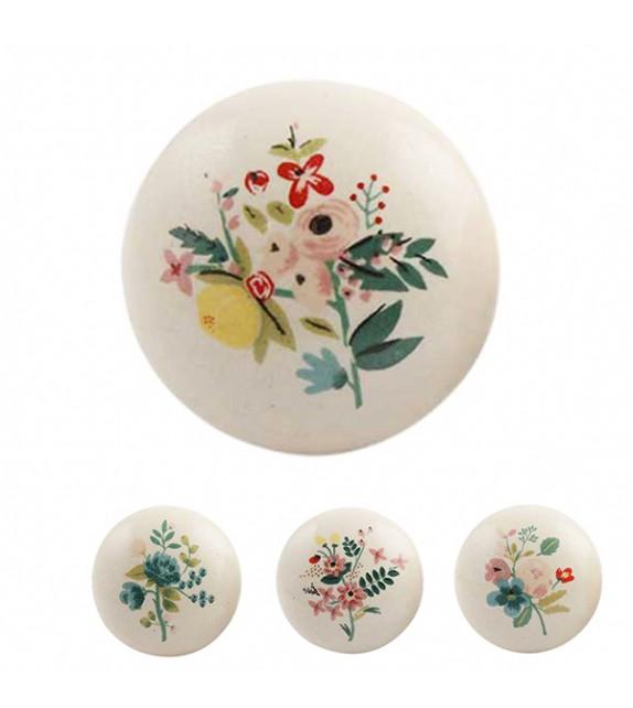 Bouton de meuble bouquet de fleur aquarelle en porcelaine boutons - Bouton en porcelaine pour meuble ...